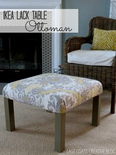 ikea hack ottoman. I'm thinking two could replace my coffee table. End up with seating when entertaining and coffee table surface when not. All is have to do extra is use my super good fabric protector I found in Amazon.