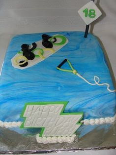 Wakeboard Cake.  Could make this a ski cake for G!!