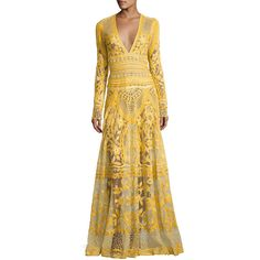 Naeem Khan Thread-Embroidered Long-Sleeve Gown ($13,990) ❤ liked on Polyvore featuring dresses, gowns, yellow, a line dress, long-sleeve maxi dresses, long ball gowns, long sleeve evening gowns and yellow evening gown
