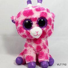"TY Beanie Boo Twigs Pink & White Giraffe 2014 Purple Sparkle Plush Beanbag - 6"" #Ty"