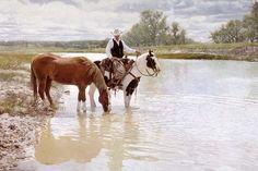 """Unquenchable Thirst"" -Western Paintings Craig Tennant's Cowboy & Western Art Reproductions. - Craig Tennant Cowboy Prints"