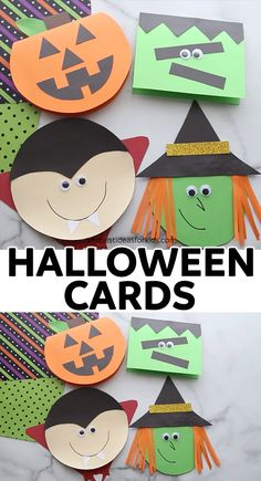 Handmade Halloween Cards (with free templates) - The Best Ideas for Kids HALLOWEEN CARDS ? - such easy and fun handmade Halloween cards! Dulceros Halloween, Moldes Halloween, Halloween Arts And Crafts, Manualidades Halloween, Halloween Crafts For Toddlers, Halloween Party Games, Halloween Crafts For Kids, Halloween Activities, Diy Halloween Decorations