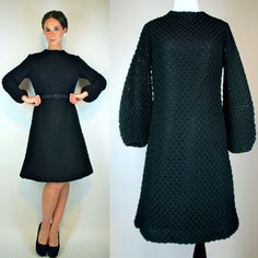 Vintage 60s Black Popcorn Crocket Knit Sweater Dress w/ Balloon Bell Sleeves + Flared Skirt. Mod boho Party Cocktail Mini LBD Small - Medium