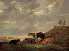 """Aelbert Cuyp, """"River Landscape with Cows,"""" 1645/1650, oil on panel, National Gallery of Art, Washington, Gift of Family Petschek (Aussig)"""