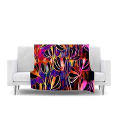 """Ebi Emporium """"Efflorescence - Deep Jewel"""" Pink Rainbow Fleece Throw Blanket"""