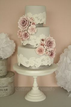 Repinned by Sous toutes les coutures - Wedding Planner Paris www.sous-toutes-les-coutures.fr  / Lace & roses wedding cake gray and pink! Beautiful cake!!