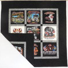 This Double-Sided Classic T-Shirt Quilt is made from a collection of  Harley-Davidson shirts!