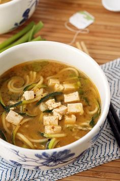 Miso green tea and ginger tofu soup with zucchini noodles is a ...