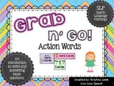 This activity has been created by Kristine @ www.livelovespeech.com.  This pack is perfect for students beginning to use verbs, answering who questions, pronouns, and answering yes/no questions.  Each set of cards can be used for on-the-go therapy,  centers, and in-class therapy sessions.
