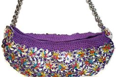 Eloisa - Rainbow Floral Crochet Purse Made from Pop Tabs for Women or Teens Bag Vegan. $200.00, via Etsy.