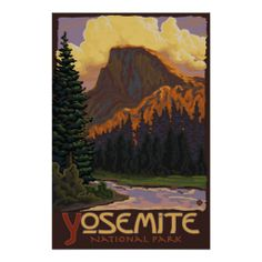 Yosemite National Park - Half Dome Travel Poster (pinned by haw-creek.com)