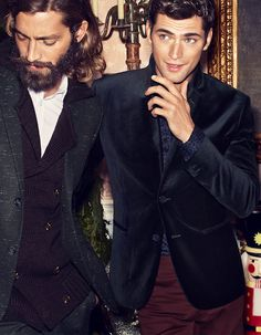 """Maximiliano Patane & Sean O'Pry - for the """"Just Kill Me Now"""" collection. Sharp Dressed Man, Well Dressed Men, Fashion Moda, Mens Fashion, American Male Models, Sean O'pry, Down South, Suit And Tie, Party Looks"""