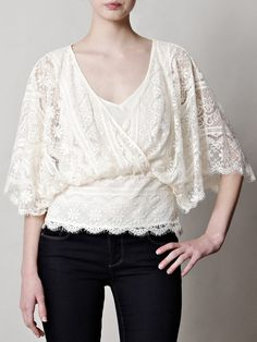 Beyond Vintage Beige Dolman Sleeve Lace Blouse