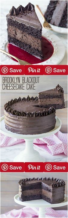 Brooklyn Blackout Cheesecake Cake Chocolate lovers rejoice! Moist chocolate cake surrounds a layer of the darkest chocolate cheesecake all wrapped in a rich and fudge-y