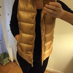 J. Crew Shiny Puffer Down Vest Worn a handful of times, excellent condition! Nylon with down filling. Hits at hip, lightweight. Standing collar, hidden zip with snap closure. Machine washable. Smoke-free home. J. Crew Jackets & Coats Vests