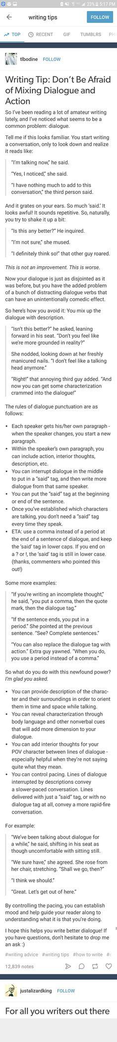 En bra dialog- och händelsemix går till så här; Hur du bör och inte bör skriva. Ett hjälpsamt tips...