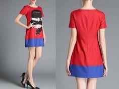 vestido divertido   vestido cartoon    vestido vermelho e azul    vestido vermelho   vestido azul   vestidinho tumblr