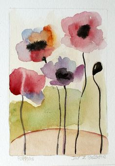 Hand Painted Poppy Greeting Note Card Pink Poppies by likeadancer