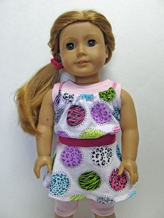 American Girl/18 inch Doll Clothes - 4 pc skirt, tank top, baby doll top and capri leggings