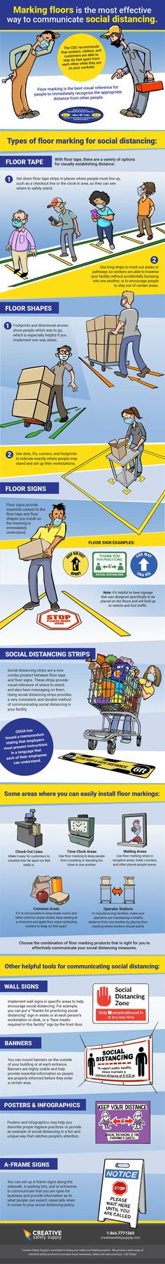 Is your workplace set up to help prevent the spread of illness? Keeping a distance of six feet is the best way to slow the spread of COVID-19, according to the CDC.  This infographic from Creative Safety Supply Floor explores best practices for visually establishing a safe distance + why floor marking is the most effective tool for enforcing social distancing.