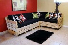 I Actually Really Do Like This Pallet Sofa-Could Do It For A Porch Sofa!  Or Around the Front of My Wall Width Bookshelves! cashforpalletsmanchester.com
