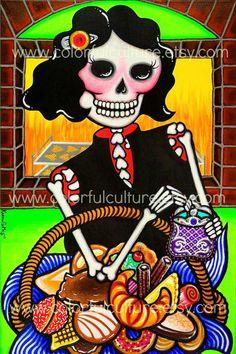 A que Horas Sales por el Pan, Bizcochito? Dia de los Muertos / Day of the Dead Theme Art Print Reproduction by Karina Gomez - From original