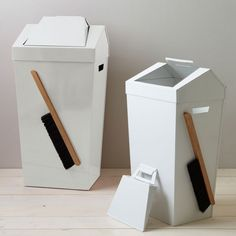 A clever magnetic bin with a lid that doubles up as a dustpan. Love it!
