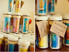 Tea wedding favors with loteria cards Mexican Party Favors, Mexican Invitations, Fiesta Theme Party, Festa Party, Mexican Themed Weddings, Tea Wedding Favors, Fiesta Decorations, Quince Ideas, Wedding Ideas