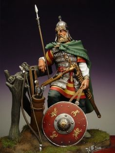 Historical figurine depicting Lombard warlord (Italy about 600 AD)