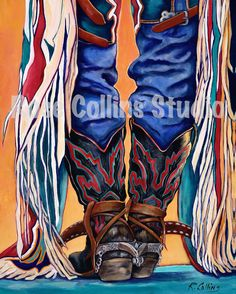 acrylic paintings of cowboy boots | Request a custom order and have something made just for you.