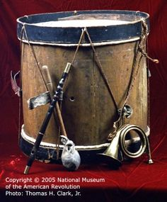 Love this Revolutionary War Bass Drum, Fife and Bugle.  The drum was found in New Hampshire and is made of hickory and oak.  Check out the handmade drum stick and great effort on the white and blue banding.