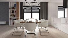 Moderní obývací pokoj s kuchyní a jídelnou, kde je hlavní spojení dřeva a kamene.