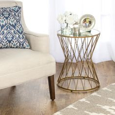 Hourglass Gold Metal Accent Table with Mirror Top - HOMEPOP