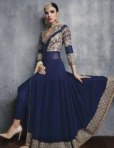 Designer Salwar Kameez - Navy Blue Abaya Style Georgette Indian Salwar Kameez Online with Chiffon Dupatta UK, USA Abaya Fashion, India Fashion, Fashion Pants, Japan Fashion, Fashion Wear, Emo Fashion, Street Fashion, Designer Anarkali, Indian Wedding Outfits