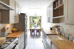 Small kitchen in a corridor.