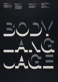 """Jacqueline S. Casey, """"Body Language: Figurative Aspects of Recent Art"""" exhibition poster for the MIT Hayden Gallery, International Typographic Style, International Style, Art Exhibition Posters, Type Posters, Design Posters, Typographic Poster, Layout, Graphic Design Typography, Motion Design"""