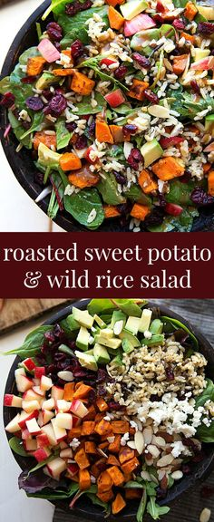 The best hearty and healthy Thanksgiving salad - mixed greens with roasted sweet potato, seasoned wild rice, cranberries, almonds, avocado, and cheese with a creamy lemon balsamic dressing. Plus some shortcuts to make this salad even quicker and tips to make it ahead of time!: