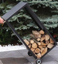 Grotherm Holzwagen schwarz, als Tisch und Bank nutzbar