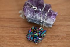 Rainbow aura quartz pendant in silver chain necklace