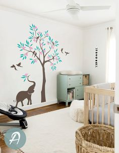 Larbre arbre mural sticker oiseaux et léléphant décalque de