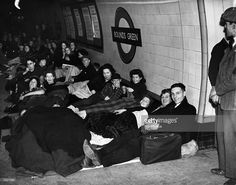 Oct. 16,1940Londoners sheltering on a platform at Bounds Green tube station during an air raid in The Blitz.