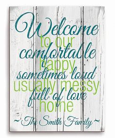 Image Canvas Blue & Green Personalized Welcome Sign | zulily