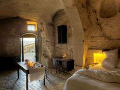 Sextantio Le Grotte della Civita (hotel in a former beautiful cave palace), Sassi de Matera #Italy