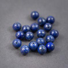 4pcs - perles rondes • lapis lazuli • veiné, pailleté • couleur naturelle • 12mm