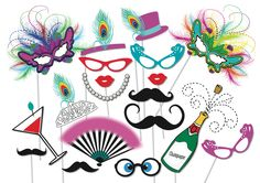 Masquerade Party Photo booth Props Set  19 Piece por TheQuirkyQuail, $8,00
