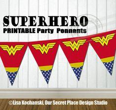 Printable Superhero Party Banner Superhero Logo Symbols Superhero Birthday Party Superhero Baby Shower by OurSecretPlace