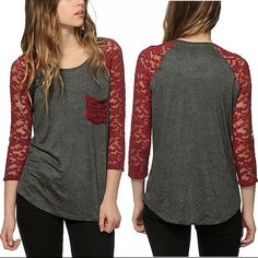 Long Sleeve with Lace Tee Shirt Charcoal Long Sleeve with Red Lace Tee Shirt  This is NWOT Retail. Price Firm Unless Bundled. Measurements available upon request. Tops