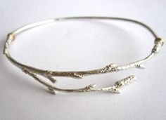 Solid Silver twig bangle