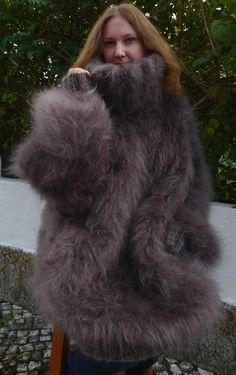 Gray Hand Knitted Longhair Mohair Sweater Big size 2XL 3XL by LanaKnittings #HandmadebyLanaKnittings #TurtleneckMock