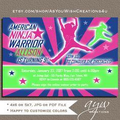 American Ninja Warrior Birthday Invitation American Ninja Warrior Birthday Girl Pink Navy Ninja Warrior Invites Printable Invitation ANY AGE